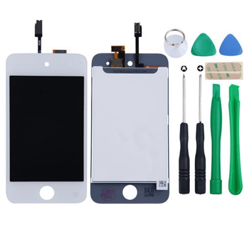 WHITE For iPod Touch 4th Generation Digitizer + LCD Full Assembly + Home Button + 7 Piece Tool Kit + 3M Adhesive(China (Mainland))