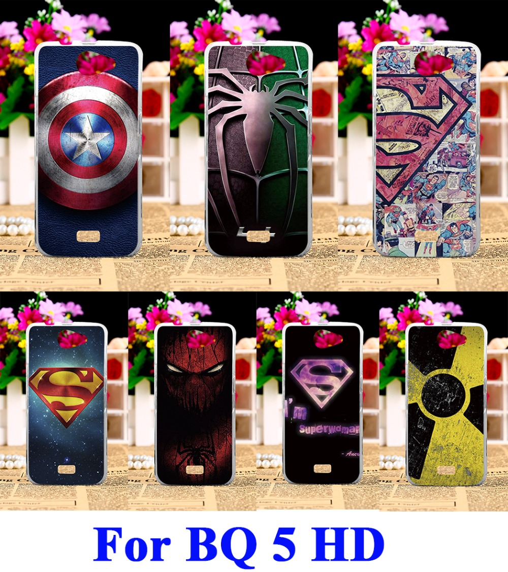Hard Plastic Phone Cases For BQ Aquaris 5 5 HD 5HD 5.0HD Case DIY Back Protection Shell Cover Spider Superman cool pattern(China (Mainland))