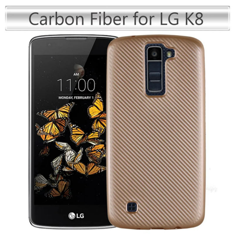 Cover For LG K8 Case Carbon Fiber Brushed TPU Rubber Silicone Mobile Phone Cases For LG K8 Slim Hybrid Armor Cover(China (Mainland))