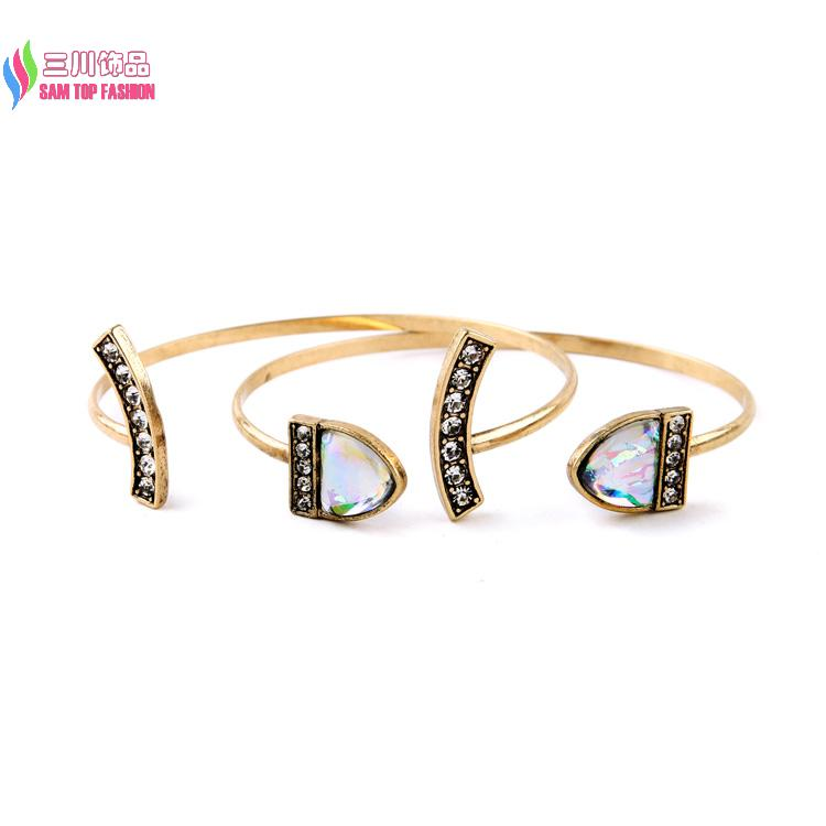 Wholesale new arrival fashion vintage stylish bronze rhinestone cuff bangle bracelet sets for women pulseiras de couro(China (Mainland))