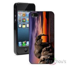 Elephants at Sunset in Water back skins mobile cellphone cases for iphone 4/4s 5/5s 5c SE 6/6s plus ipod touch 4/5/6