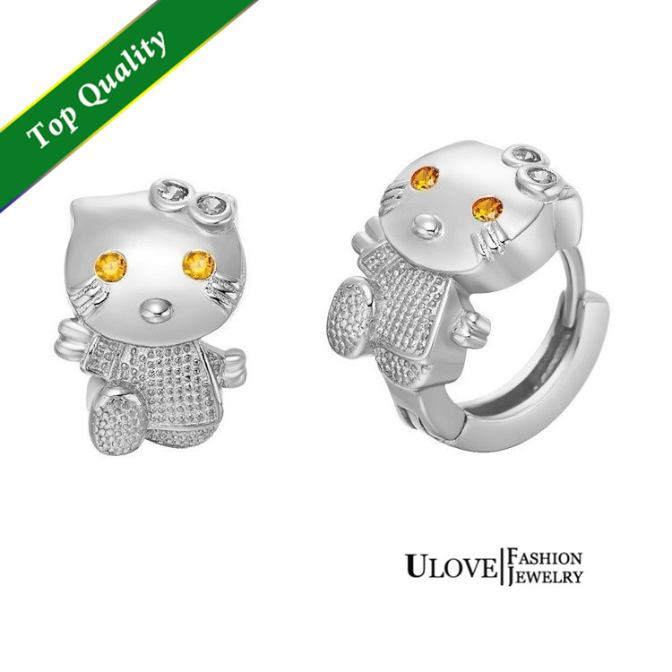 Free Shipping Cute Women 925 Sterling Silver Crystal Cat Earrings, Animal Stud Earrings for Girls Rose Gold Plated Ulove R564(China (Mainland))