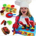Large size Creative DIY 3D playdough toy 8 colors Plasticine extrusion hamburger polymer clay toys for