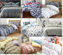 hot sale cotton simple european style grey white yellow  plaid bedding bed sheet set bedclothes duvet cover set bedding set(China (Mainland))