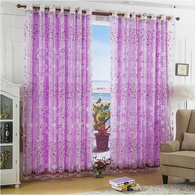 Cheap Purple Dandelion rustic screens curtains / bedroom / explosion models Hot Low price window curtain(China (Mainland))