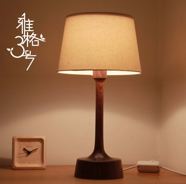 New chinese wedding gift wedding decoration eye wood for Bedroom nightstand lamps