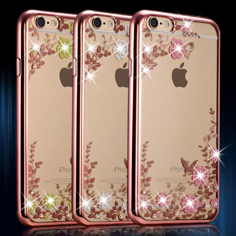 WHAY Bling Diamond Case for Apple iPhone 6 6S Case Silicone Cover for iPhone 6S Plus 6 Plus /5 5S SE Flower TPU Clear Back Cover(China (Mainland))
