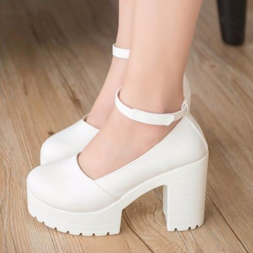 T9018 Women shoes spring summer ladies footwear casual thick heels platform shoes girls women high heels shoes 10 cm pumps(China (Mainland))