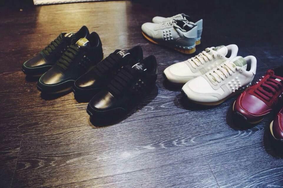 free ship u174 40 41 42 43 44 genuine leather rock stud sneakers