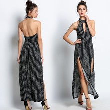 Buy 2016 Summer Beach Holiday Striped Long Maxi Dress Women Sexy Backless Halter High Side Split Long Party Dress Bodycon Vestido u2 for $14.47 in AliExpress store