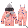 2016 new Children Boys Girls Winter Warm Down Jacket Suit Set Thick Coat+Jumpsuit Baby Clothes Set Kids Hooded Jacket With Scarf