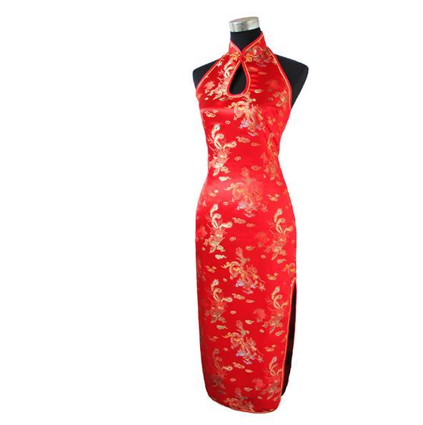 Red Chinese Traditional Dress Women Silk Satin Qipao Sexy Backless Long Halter Cheongsam Top Vestidos S M L XL XXL XXXL J3401(China (Mainland))
