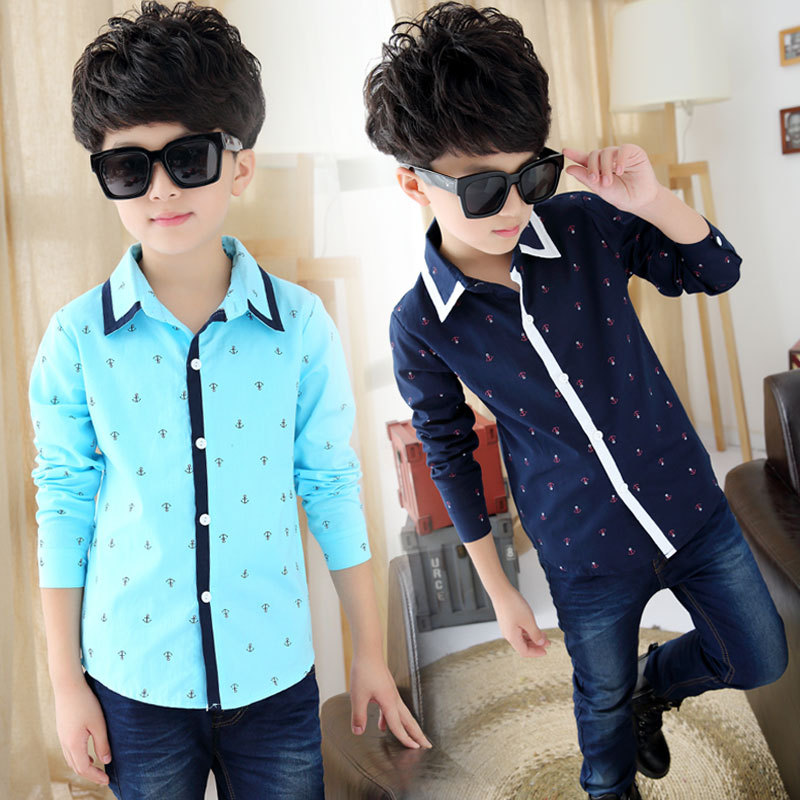 New Korean version  Boys spring/Autumn Patchwork Print Shirts fashion Cotton Shirts For 3-12 Years Kids Fashion boys Clothes<br><br>Aliexpress