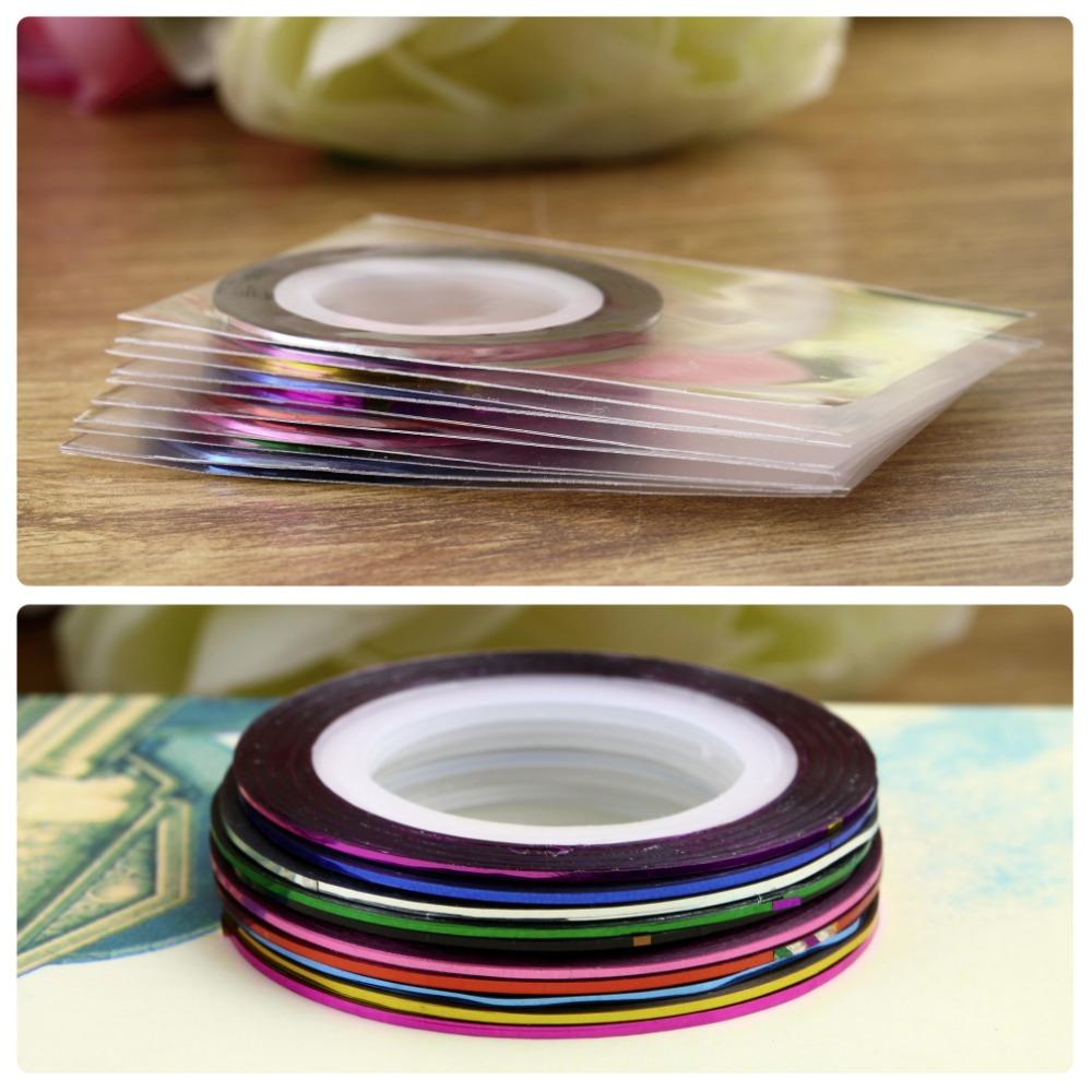 2015 New Fashion Sticker Nails 10Pcs Mixed Colors Nail Rolls Striping Tape Line DIY Nail Art