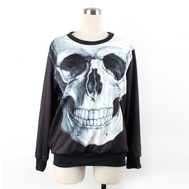 2014 Spring Skull Модный Punk Sweatshirt Shirt Свободный О-образным вырезом