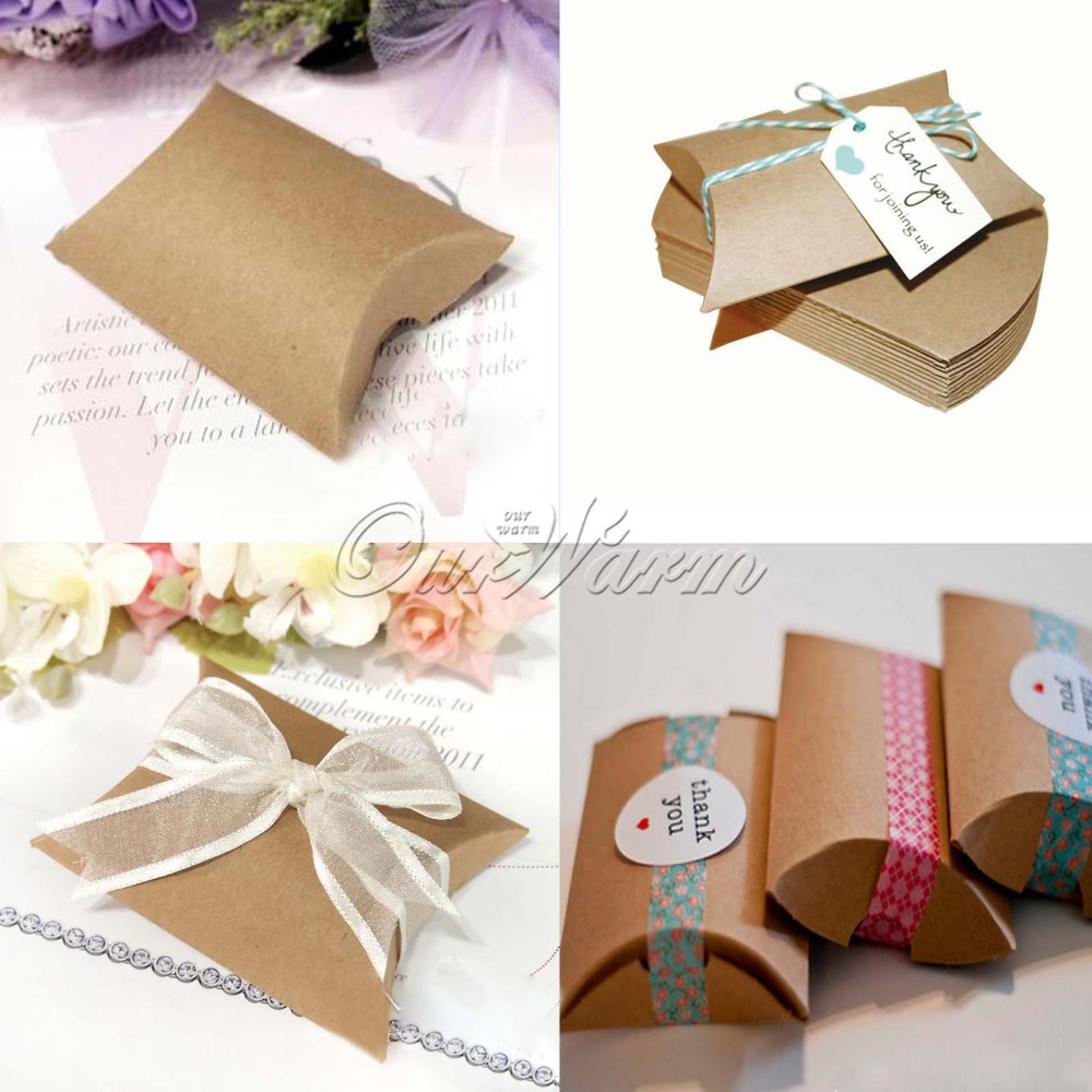 Wedding Favor Boxes For Candy : New Style Kraft Pillow Shape Wedding Favor Gift Box ,Party Candy Box ...