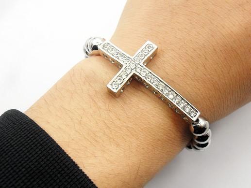 Beaded Sideways Cross Bracelet Cross/sideway Cross Bead
