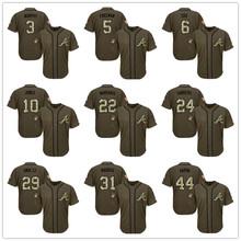 Free Shipping #5 Freddie Freeman #10 Chipper Jones #24 Deion Sanders #44 Hank Aaron Green Salute to Service Baseball Jersey(China (Mainland))