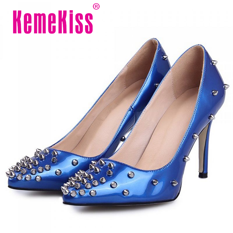 women real genuine leather high heel shoes sexy rivets party pumps pointed toe heeled footwear heels shoes size 34-39 R08550<br><br>Aliexpress