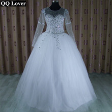 Buy QQ Lover Wedding Dress 2017 Vestido De Noiva Long Sleeve Bridal Gown Rhinestones Pearls Crystals Ball Gown Robe De Mariage for $101.25 in AliExpress store