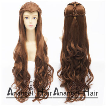 Free Hair Cap!  Lord of the Rings/The Hobbit Elf Brown Wavy Costume Cosplay Wig