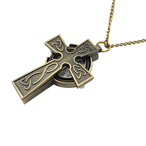 Античная форма креста кварты урожай ретро карманные часы-кулон с цепи для женщин