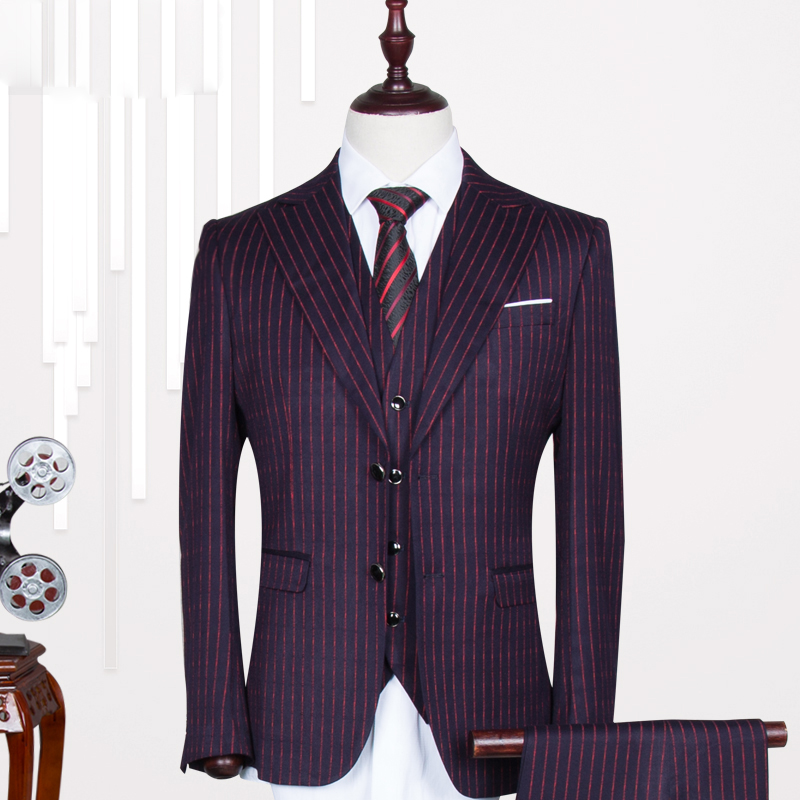 Blazers + pants + vest / Men's suits high quality vertical stripes cultivate one's morality three-piece suit wedding