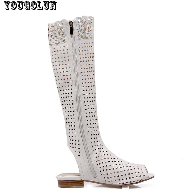 2015 New Summer Women Pattern Hollow Boots Sexy Dew heels Knee high Boots Sandals Fashion Ladies Black White Summer Woman shoes