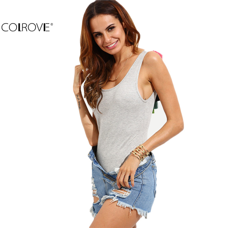 COLROVE Grey Tassel Trim Backless Scoop Neck Tops Female New Style Sleeveless Slim Clothing Sexy Bodysuit(China (Mainland))