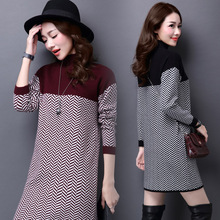 2016 New Spring Turtleneck Sweater Party Dress Girls Slim Houndstooth Knit Dress Long Sleeve Casual Office Work Dress J1080(China (Mainland))