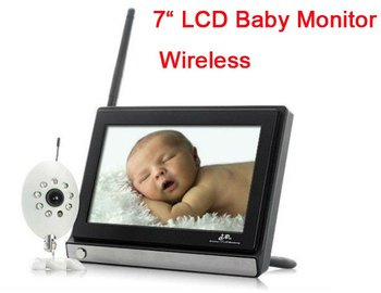 7 Inch 2.4GHz TFT LCD Wireless Digital Video camera Baby Monitor with Night Vision AV OUT Freeshipping