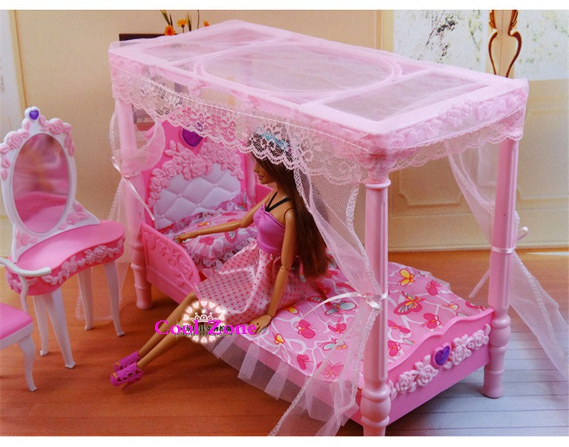 Miniature Furnishings Dreamy Rose Bed room for Barbie Doll Home Traditional Toys for Woman Free Transport
