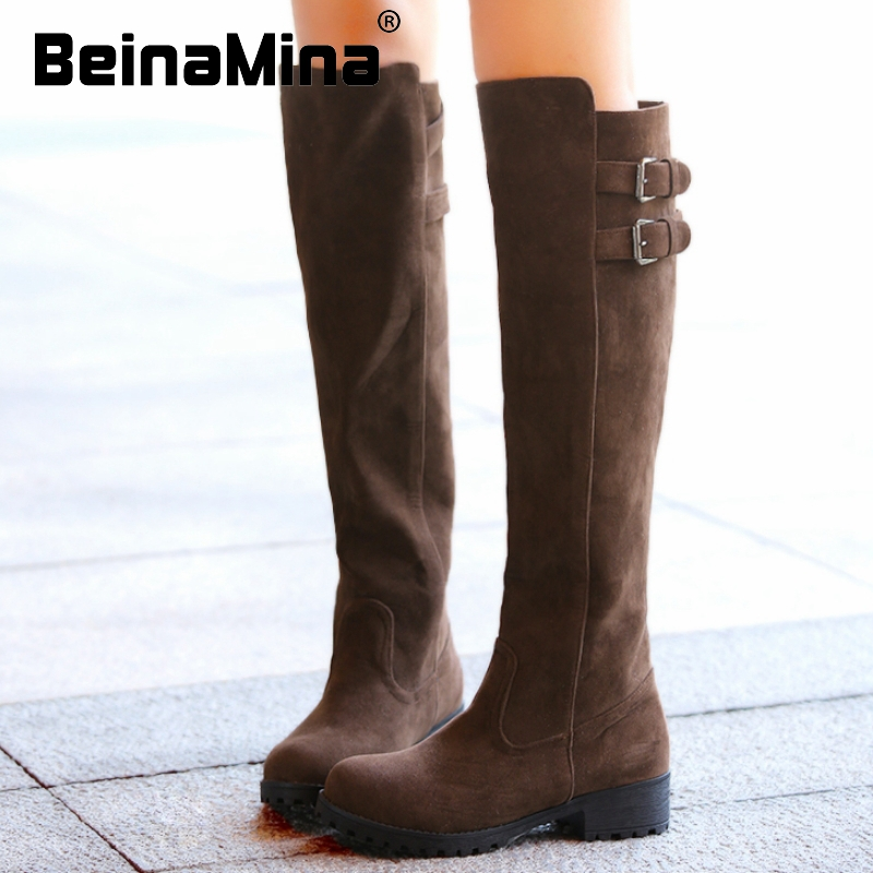women flat over knee boots martin winter warm snow botas buckle fashion masculina boot footwear shoes P19981 size 33-43<br><br>Aliexpress