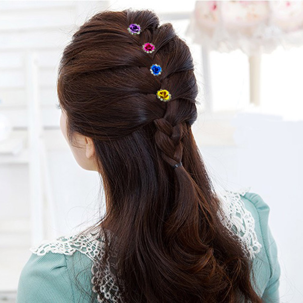 Fashion Rhinestone Rose Hairpin Barrette Hair Accessories Women Jewelry Decoration Hair Clip(China (Mainland))