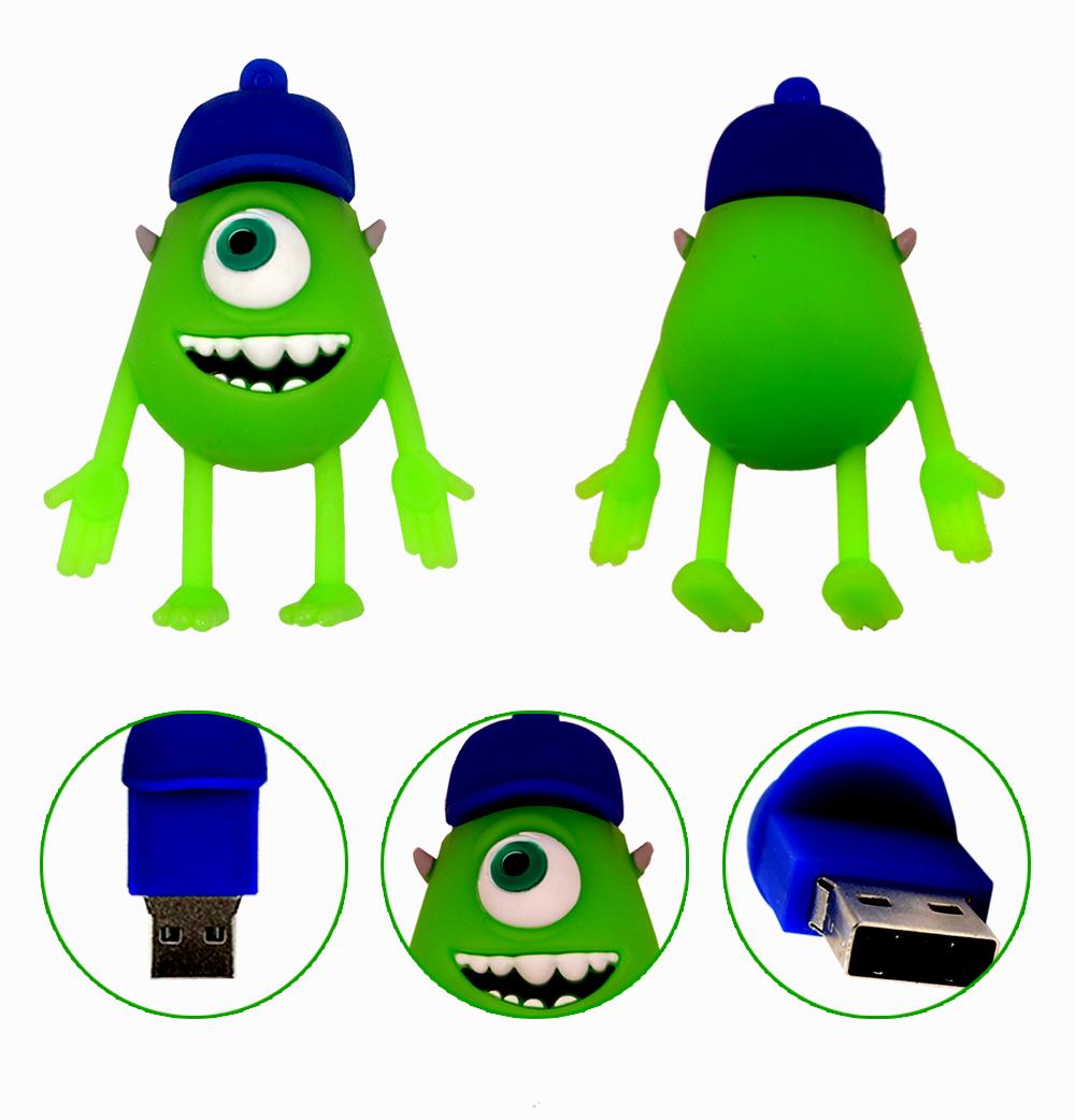 Genius USB flash drive cute cartoon monster model USB2.0 pendrive 8GB/4GB/32GB/16GB memory stick for tablet PC pen drive(China (Mainland))