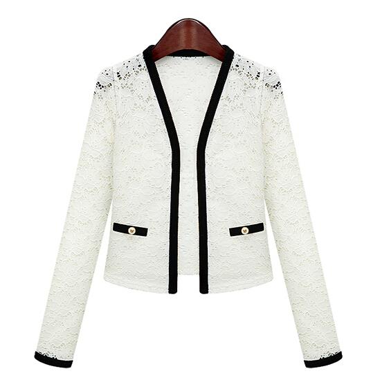 2015 Women Lace Blazer Slim Long Sleeve Cardigan Short Suit Plus Size Black White Blazers Jackets Female Feminino XXL WZ18 - N-DEER-N store