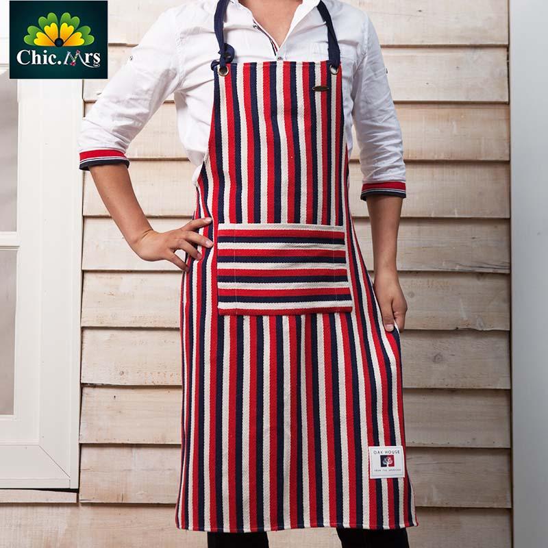 2016 NEW Linen aprons Personalized Custom LOGO Strip red white Color sexy Apron kitchen women men fashion Linen apron Free ship(China (Mainland))