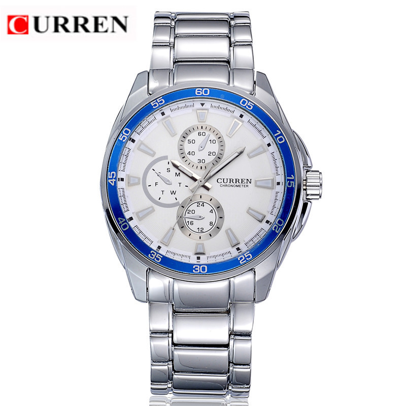 CURREN 8076 Casual Chronometer Quartz Watch with Round Dial/Embedded Dials/Strip Scale-Blue(China (Mainland))