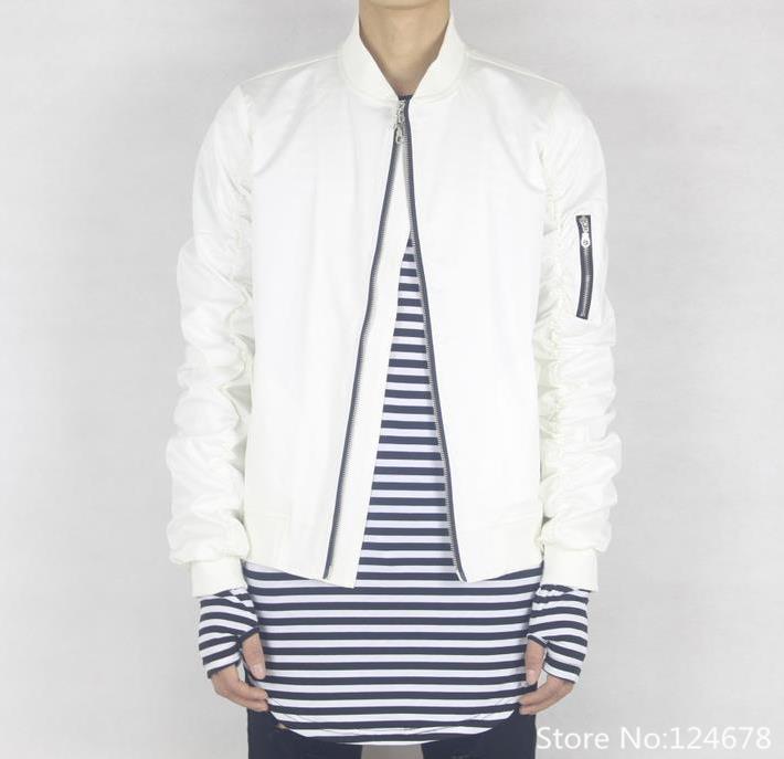 Cool White Bomber Jacket Men Hip Hop Swag Clothes Kanye