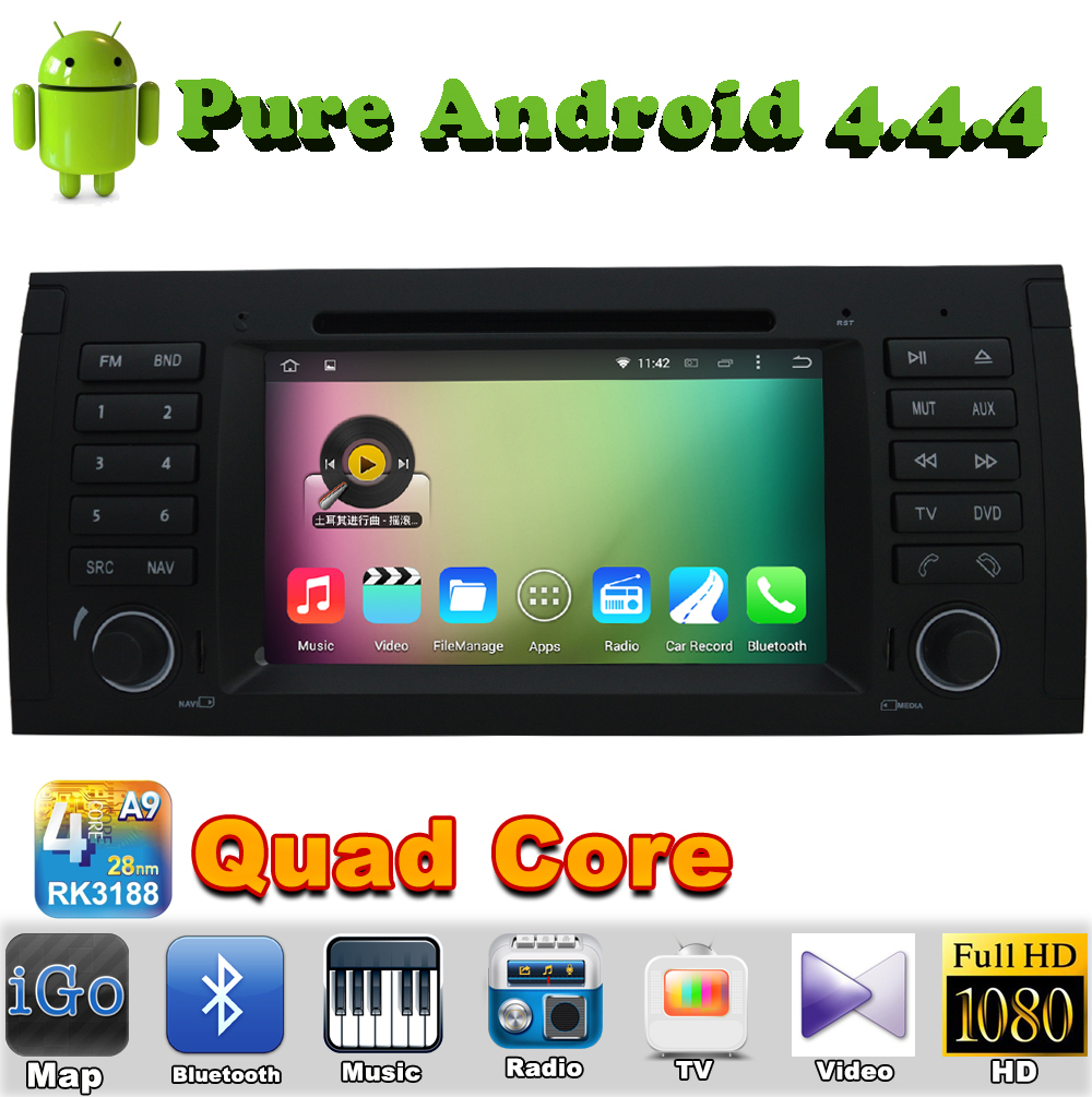 "7"" 1 din Quad Core Android 4.4 Car DVD Automotivo For BMW 5 Series E39 with 1080P 1024*600 GPS Navigation Car Radio Bluetooth(China (Mainland))"