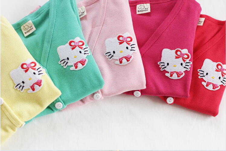Kids Girl Children Cotton Blend Cartoon Appliques Solid Single Breasted Hello Kitty Cardigan Knitted Sweater Coat Outerwear 2015(China (Mainland))