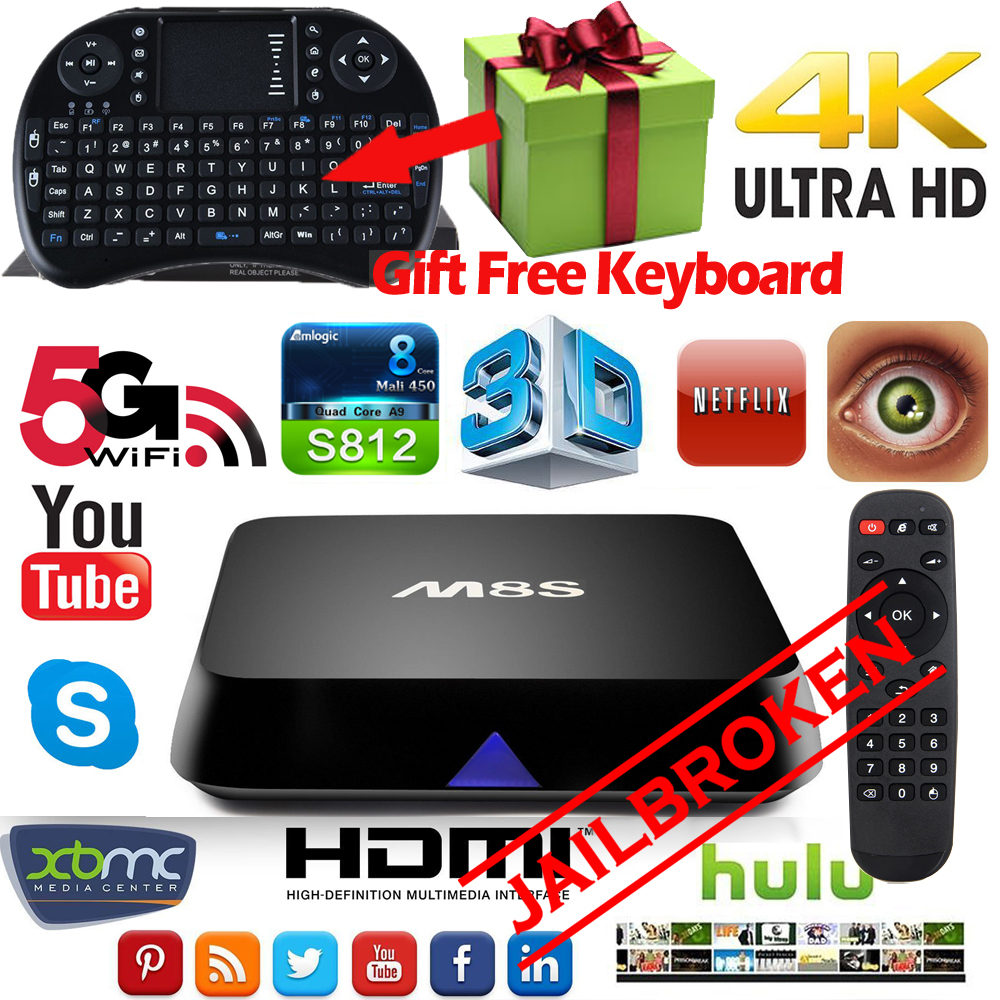 Original M8S Amlogic S812 Quad Core Android Smart JAILBROKEN TV Box Fully Loaded 4K 2GB/8GB wifi HDMI KODI + Air Mouse Keyboard(China (Mainland))