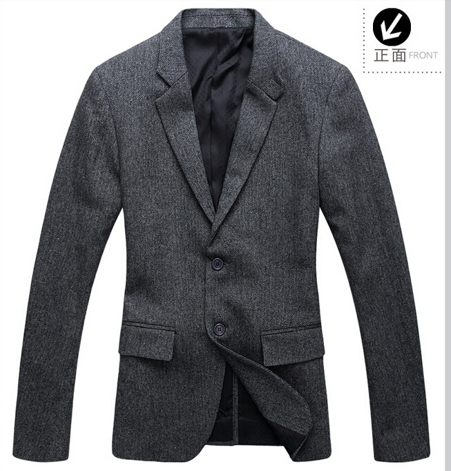 Autumn high quality wool coat suit casual men grey single breasted mens pea coat suits male overcoat coats cashmere British 2XL(China (Mainland))