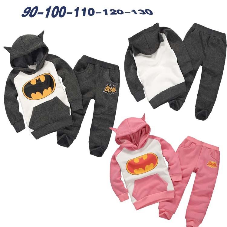Розничная новинка 2016 дети костюмы костюм бэтмен одежда дети толстовки + дети брюки спортивный костюм мальчики комплект одежды