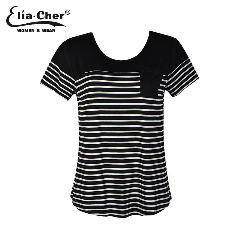 2015summer woman clouthing O-neck T shirt Casual stripe t shirts cotton white and black patchwork t shirt(China (Mainland))
