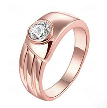 Rose Gold in Filled Engagement Ring with Centered Round Simulated Diamond on Tension Setting Band,Tension Set Cubic Zircon Ring