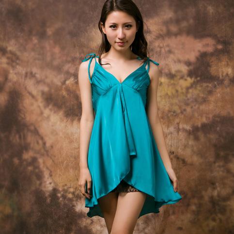 Spaghetti strap women's summer faux silk sleepwear nightgown sexy temptation lace loose plus size skirt silk sleep skirt(China (Mainland))
