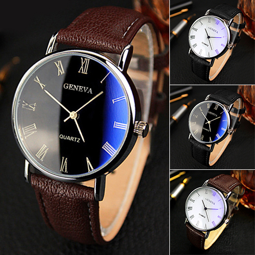 Hot Selling Good Deal Men Roman Numerals Blu-Ray Faux Leather Band Quartz Analog Business Watch 6JJZ(China (Mainland))