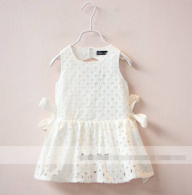 2016 New Childrens girls Side bow Hollow out vest dress Pure cotton princess sleeveless dresses white wholesale<br><br>Aliexpress