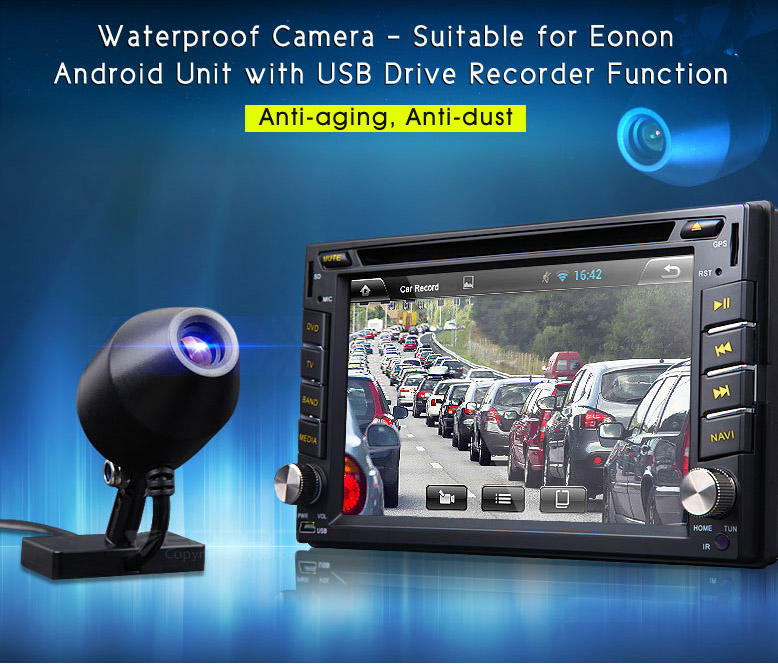 2016 New R0003 L2 Waterproof 170 Wide Degree Camera With USB DVR for EONON Android GPS Unit Anti-Aging Anti-Dust Free Shpping(China (Mainland))